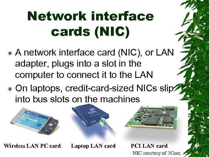 Network interface cards (NIC) A network interface card (NIC), or LAN adapter, plugs into