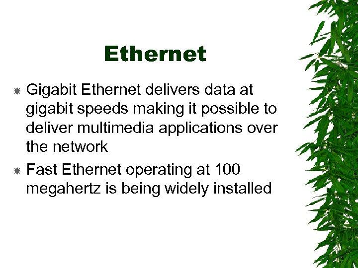 Ethernet Gigabit Ethernet delivers data at gigabit speeds making it possible to deliver multimedia