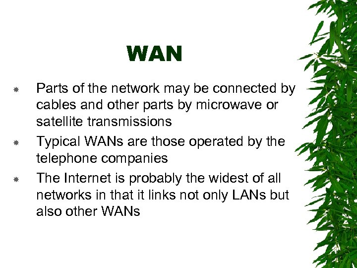 WAN Parts of the network may be connected by cables and other parts by