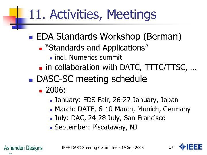 """11. Activities, Meetings n EDA Standards Workshop (Berman) n """"Standards and Applications"""" n n"""