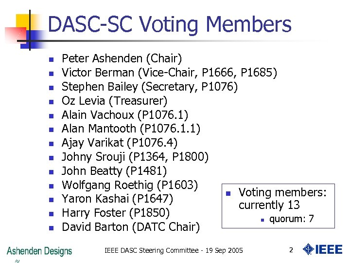 DASC-SC Voting Members n n n n Peter Ashenden (Chair) Victor Berman (Vice-Chair, P