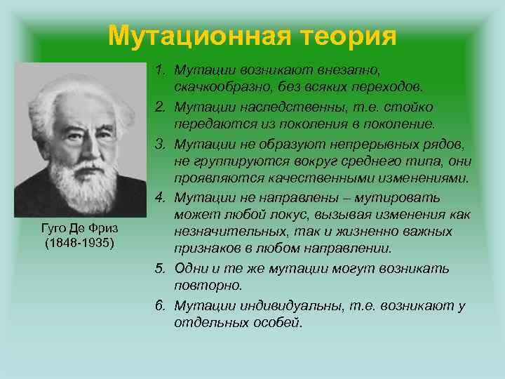 Мутационная теория Гуго Де Фриз (1848 -1935) 1. Мутации возникают внезапно, скачкообразно, без всяких