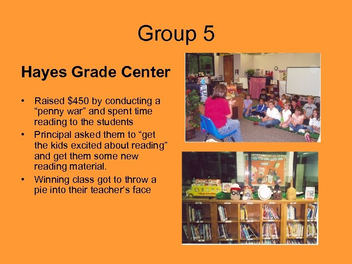 "Group 5 Hayes Grade Center • Raised $450 by conducting a ""penny war"" and"