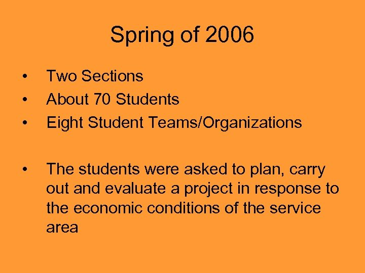 Spring of 2006 • • • Two Sections About 70 Students Eight Student Teams/Organizations