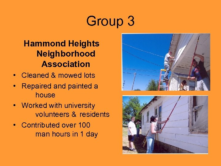 Group 3 Hammond Heights Neighborhood Association • Cleaned & mowed lots • Repaired and