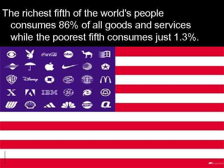The richest fifth of the world's people consumes 86% of all goods and services