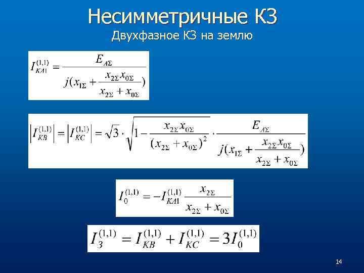 Несимметричные КЗ Двухфазное КЗ на землю 14