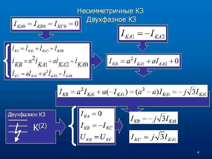 Несимметричные КЗ Двухфазное КЗ K(2) 4