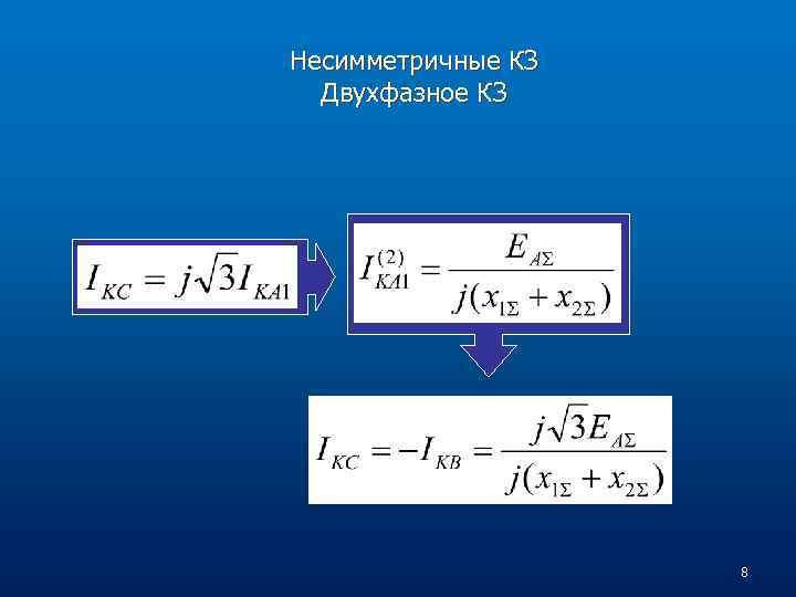 Несимметричные КЗ Двухфазное КЗ 8