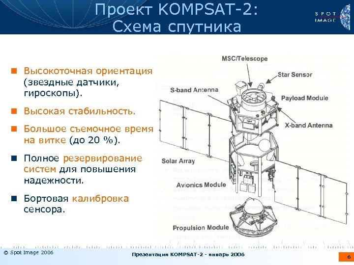 Проект KOMPSAT-2: Схема спутника n Высокоточная ориентация (звездные датчики, гироскопы). n Высокая стабильность. n