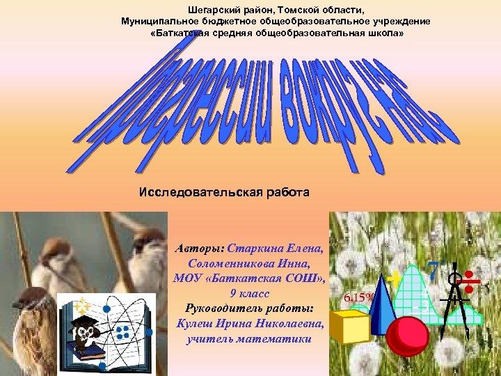 Шегарский район, Томской области, Муниципальное бюджетное общеобразовательное учреждение «Баткатская средняя общеобразовательная школа» Исследовательская работа