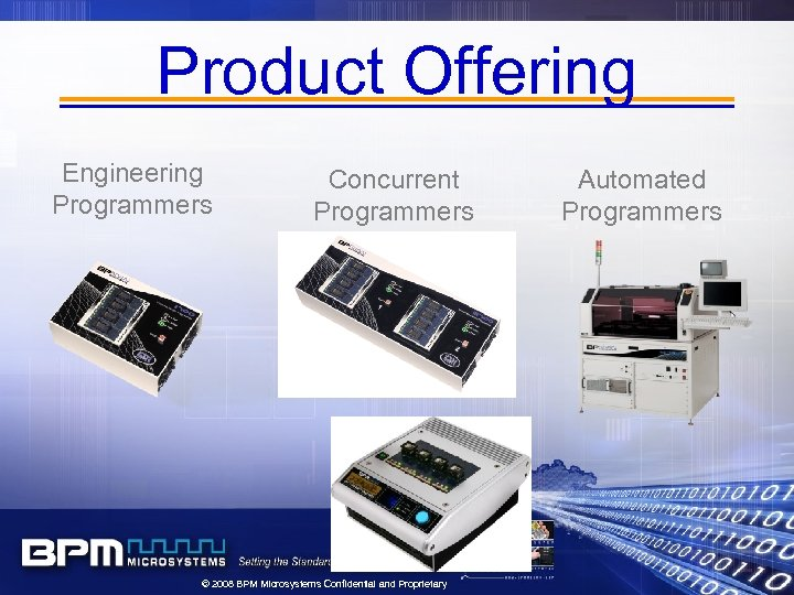 Product Offering Engineering Programmers Concurrent Programmers © 2008 BPM Microsystems Confidential and Proprietary Automated