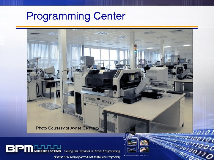 Programming Center Photo Courtesy of Avnet Germany © 2008 BPM Microsystems Confidential and Proprietary