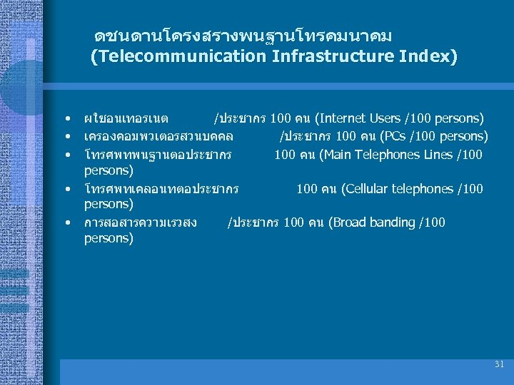 ดชนดานโครงสรางพนฐานโทรคมนาคม (Telecommunication Infrastructure Index) • • • ผใชอนเทอรเนต /ประชากร 100 คน (Internet Users /100