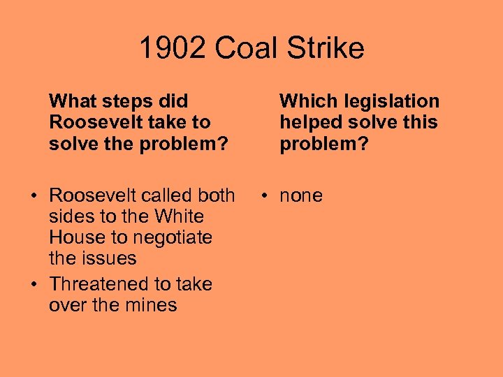 1902 Coal Strike What steps did Roosevelt take to solve the problem? • Roosevelt