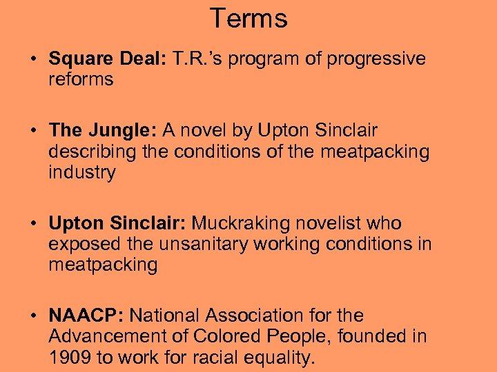 Terms • Square Deal: T. R. 's program of progressive reforms • The Jungle: