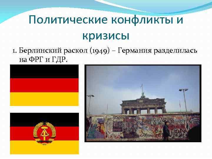 Политические конфликты и кризисы 1. Берлинский раскол (1949) – Германия разделилась на ФРГ и
