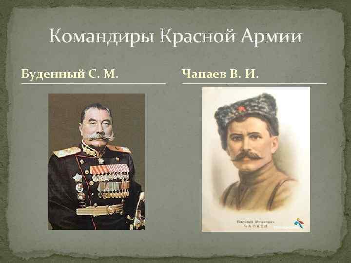 Командиры Красной Армии Буденный С. М. Чапаев В. И.