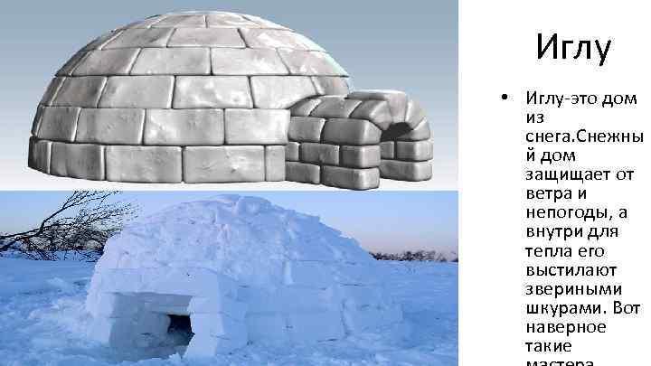 Иглу • Иглу-это дом из снега. Снежны й дом защищает от ветра и непогоды,