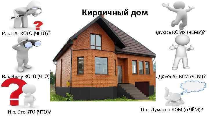 Кирпичный дом Р. п. Нет КОГО (ЧЕГО)? В. п. Вижу КОГО (ЧТО)? И. п.