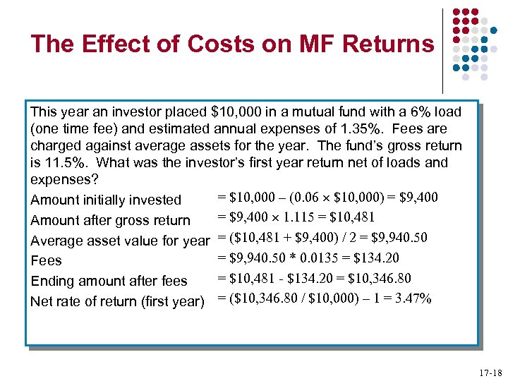 The Effect of Costs on MF Returns This year an investor placed $10, 000