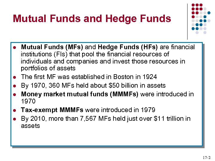 Mutual Funds and Hedge Funds l l l Mutual Funds (MFs) and Hedge Funds