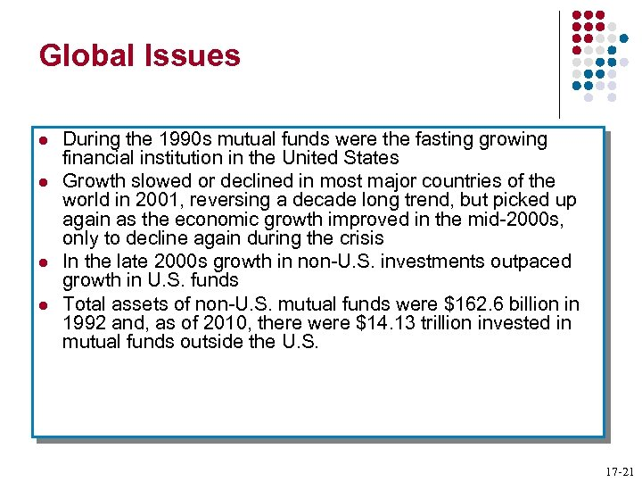 Global Issues l l During the 1990 s mutual funds were the fasting growing