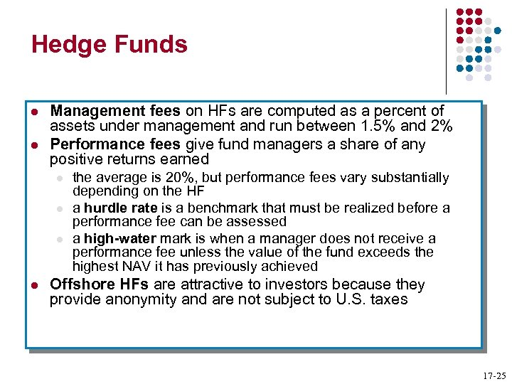 Hedge Funds l l Management fees on HFs are computed as a percent of