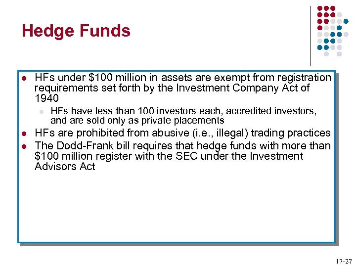 Hedge Funds l HFs under $100 million in assets are exempt from registration requirements