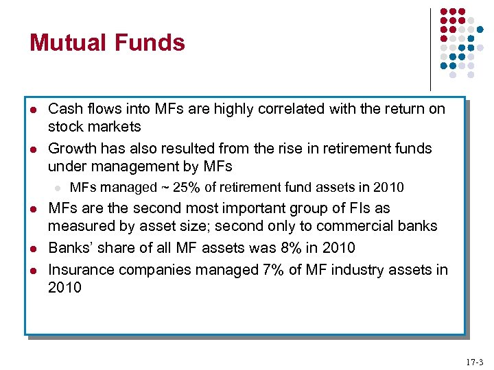 Mutual Funds l l Cash flows into MFs are highly correlated with the return