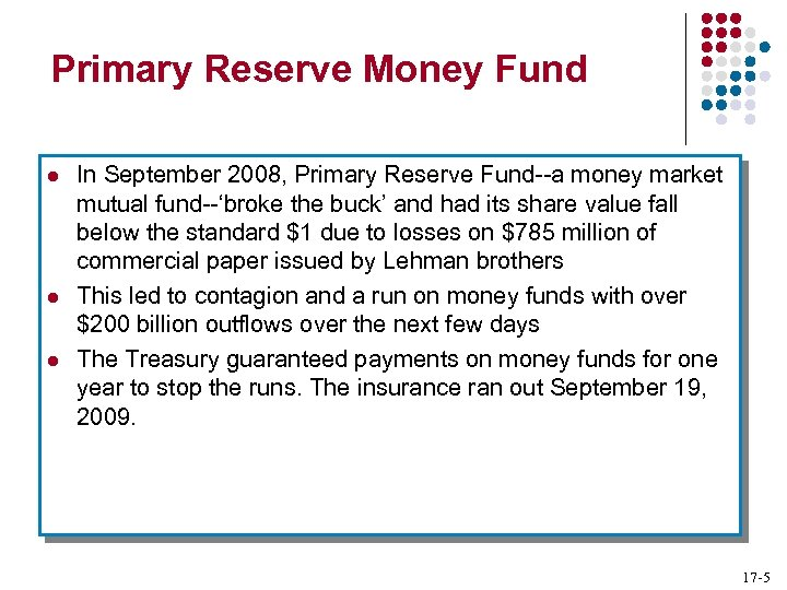 Primary Reserve Money Fund l l l In September 2008, Primary Reserve Fund--a money