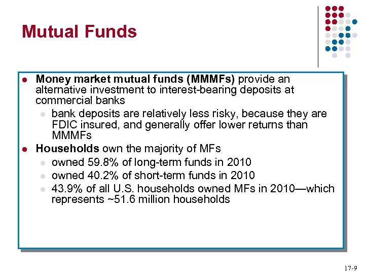 Mutual Funds l l Money market mutual funds (MMMFs) provide an alternative investment to