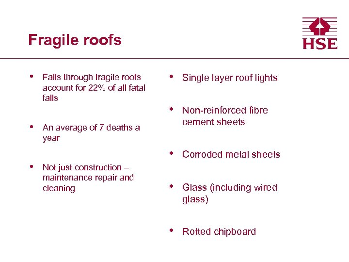 Fragile roofs • • Single layer roof lights • Non-reinforced fibre cement sheets •