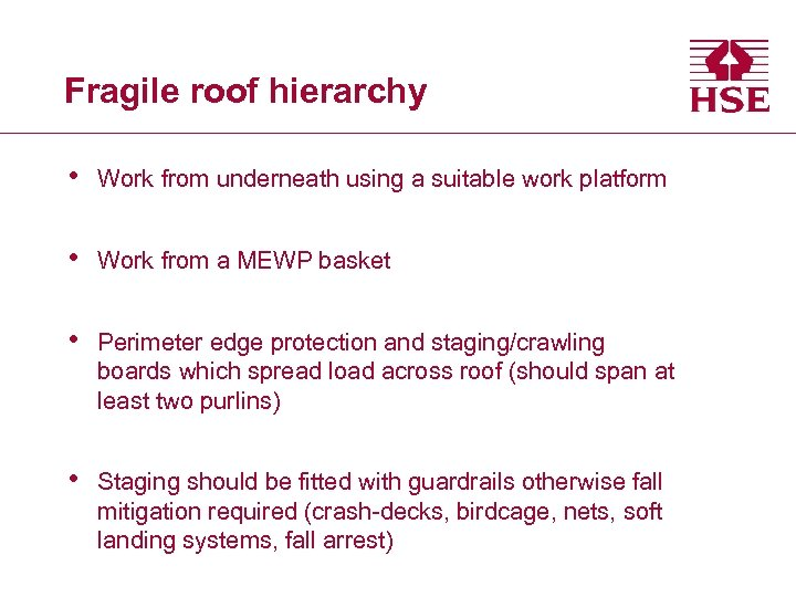 Fragile roof hierarchy • Work from underneath using a suitable work platform • Work
