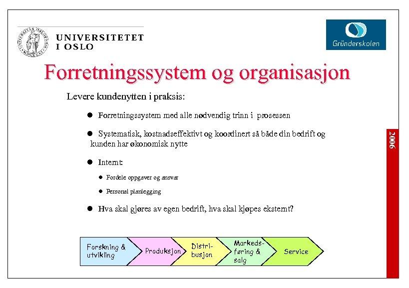 Forretningssystem og organisasjon Levere kundenytten i praksis: l Forretningssystem med alle nødvendig trinn i