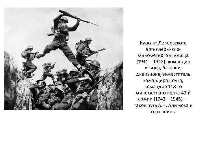 Курсант Лепельского артиллерийскоминометного училища (1941— 1942); командир взвода, батареи, дивизиона, заместитель командира полка, командир