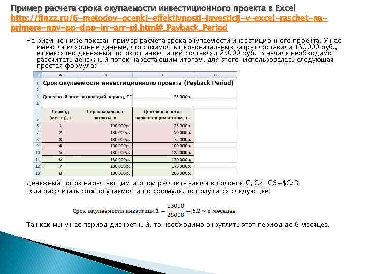 Пример расчета срока окупаемости инвестиционного проекта в Excel http: //finzz. ru/6 -metodov-ocenki-effektivnosti-investicij-v-excel-raschet-naprimere-npv-pp-dpp-irr-arr-pi. html#_Payback_Period На