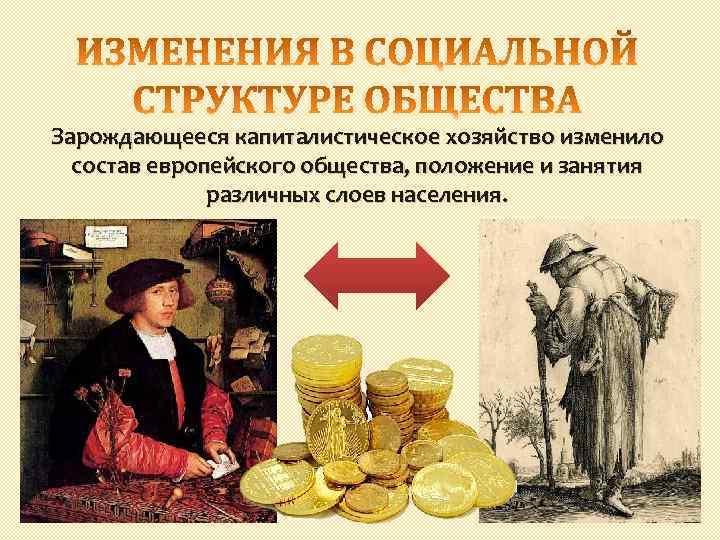 Зарождающееся капиталистическое хозяйство изменило состав европейского общества, положение и занятия различных слоев населения.