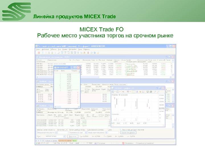Линейка продуктов MICEX Trade FO Рабочее место участника торгов на срочном рынке