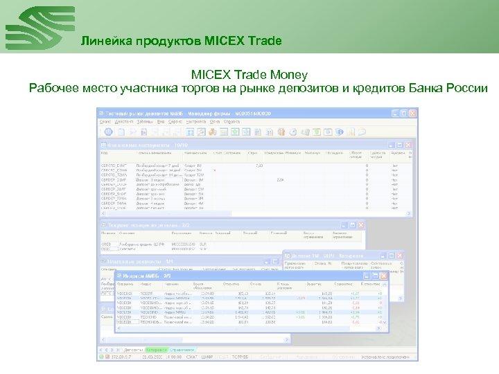 Линейка продуктов MICEX Trade Money Рабочее место участника торгов на рынке депозитов и кредитов