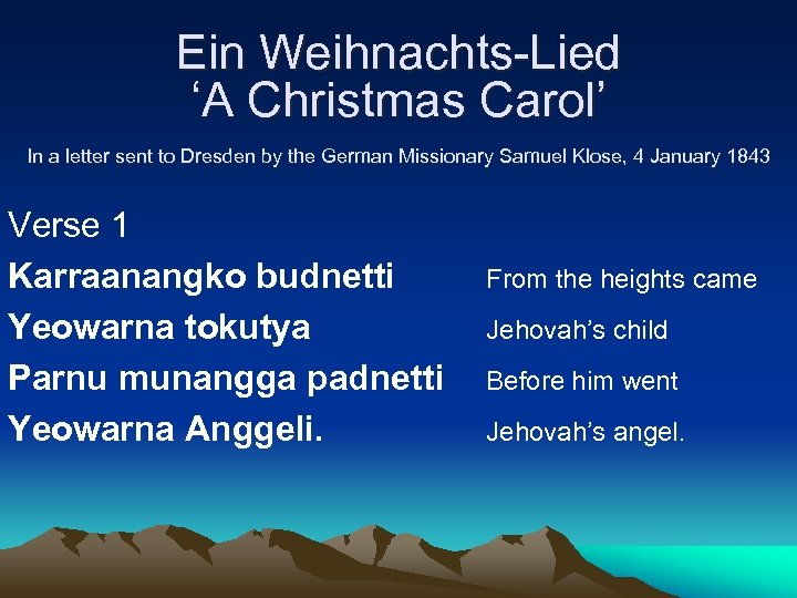 Ein Weihnachts-Lied 'A Christmas Carol' In a letter sent to Dresden by the German