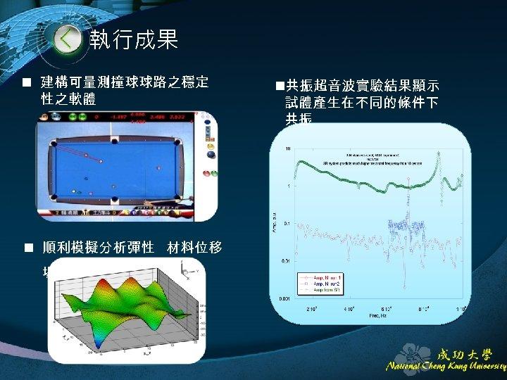 執行成果 n 建構可量測撞球球路之穩定 性之軟體 n 順利模擬分析彈性 材料位移 場 n共振超音波實驗結果顯示 試體產生在不同的條件下 共振