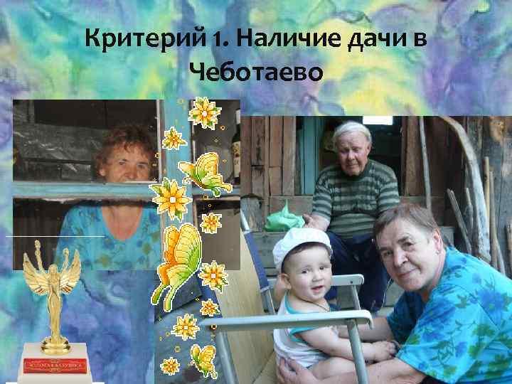Критерий 1. Наличие дачи в Чеботаево