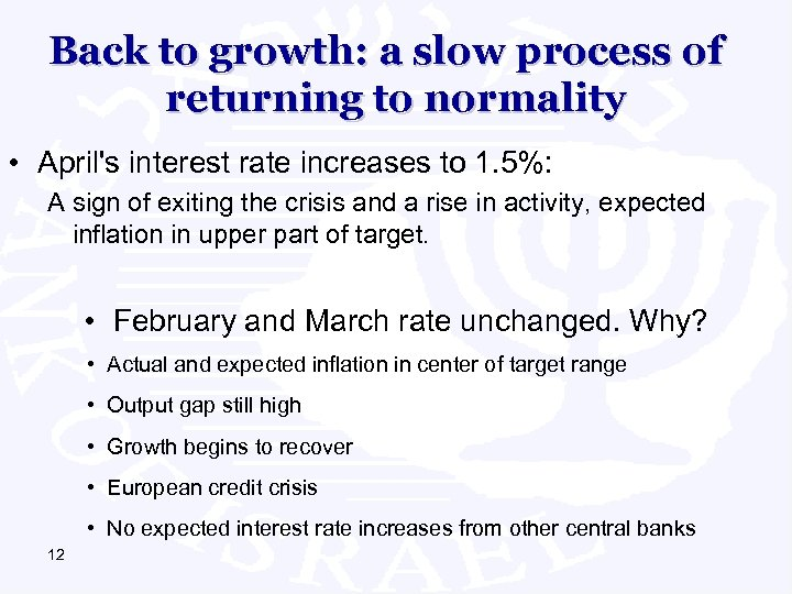 Back to growth: a slow process of returning to normality • April's interest rate