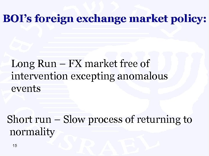 BOI's foreign exchange market policy: Long Run – FX market free of intervention excepting