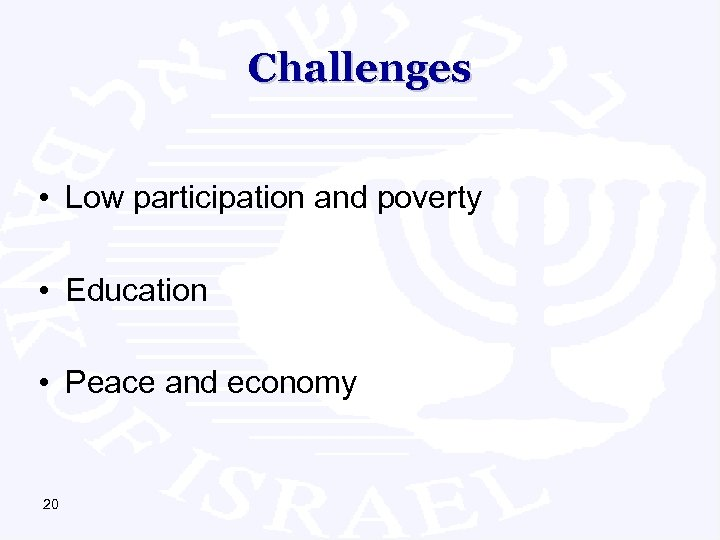 Challenges • Low participation and poverty • Education • Peace and economy 20