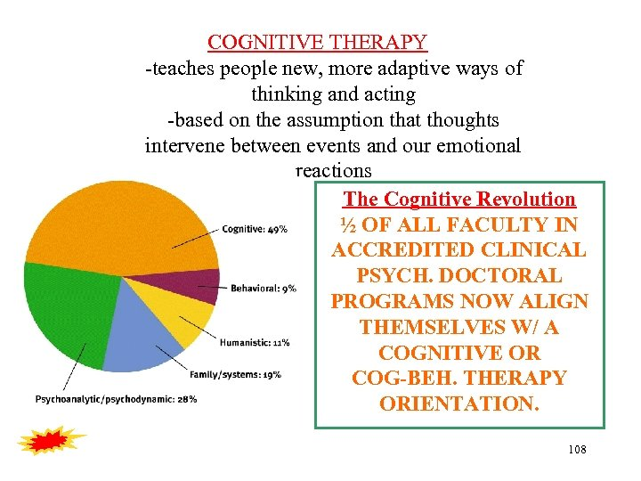 COGNITIVE THERAPY -teaches people new, more adaptive ways of thinking and acting -based on