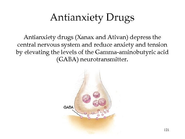 Antianxiety Drugs Antianxiety drugs (Xanax and Ativan) depress the central nervous system and reduce