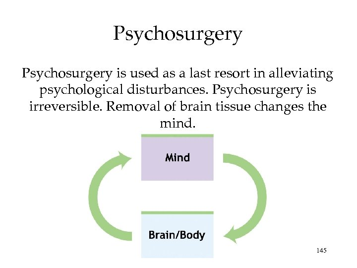 Psychosurgery is used as a last resort in alleviating psychological disturbances. Psychosurgery is irreversible.