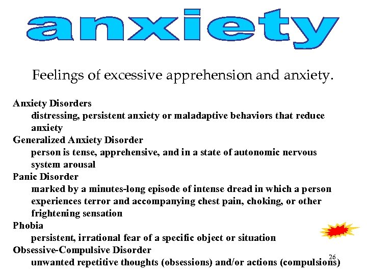 Feelings of excessive apprehension and anxiety. Anxiety Disorders distressing, persistent anxiety or maladaptive behaviors